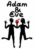image of adam eve  - Adam and Eve simple symbolic illustration presenting serious discussion about the Apple - JPG