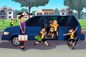 foto of  practices  - A vector illustration of mother driving her kids and their friends to soccer practice - JPG
