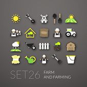 stock photo of farm  - Flat icons set 26  - JPG