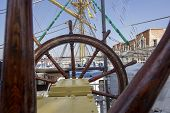 picture of ship steering wheel  - Steering wheel of the ship - JPG