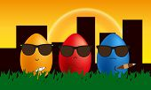 picture of mafia  - Vector funny gangster mafia eggs nice color background - JPG