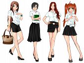 image of polite girl  - Thai college student in various uniform collection set create by vector - JPG
