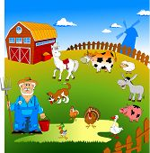 image of track home  - Farmer on his small farm with different animals - JPG