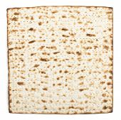 stock photo of substitutes  - Pesach jewish traditional textured Matza bread substitute isolated on white background - JPG