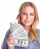 stock photo of money prize  - Portrait of cute happy girl holding in hand a lot american dollars - JPG