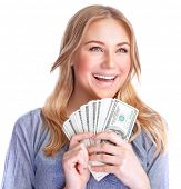 foto of money prize  - Closeup portrait of cute happy girl holding in hands a lot of money isolated on white background - JPG