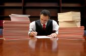 image of lawyer  - lawyer is signing the contract  - JPG