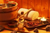 stock photo of sauna  - cosy atmosphere in the sauna in a spa area of  - JPG
