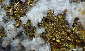 pic of gold nugget  - Crystal nugget gold bronze copper iron. Macro.