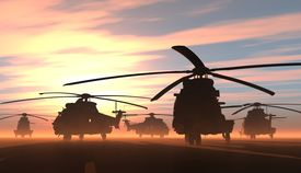pic of helicopters  - A group of military helicopters - JPG