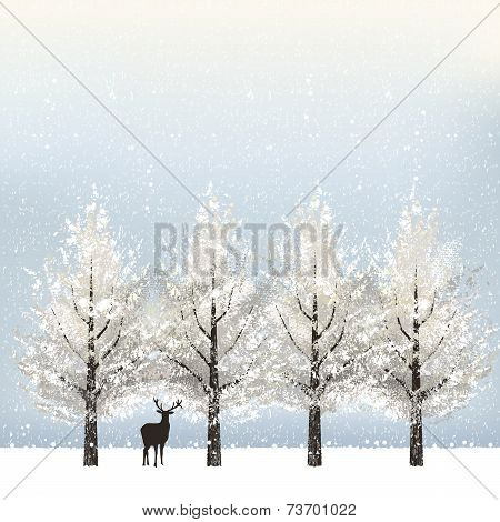 Holiday Background With Snowy Trees And Reindeer
