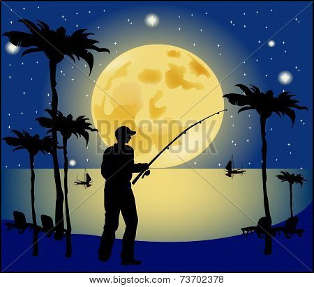 Fisherman Silhouette On Moon Background