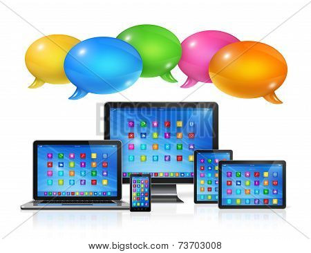 Speech Bubbles And Computers Set