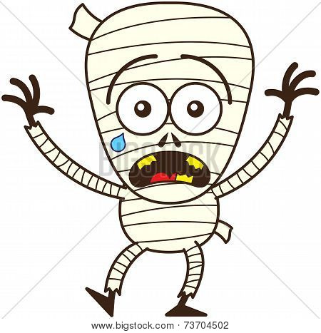 Cute Halloween mummy feeling scared