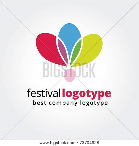 Abstract festival logo icon concept isolated on white background for business design. Key ideas is f