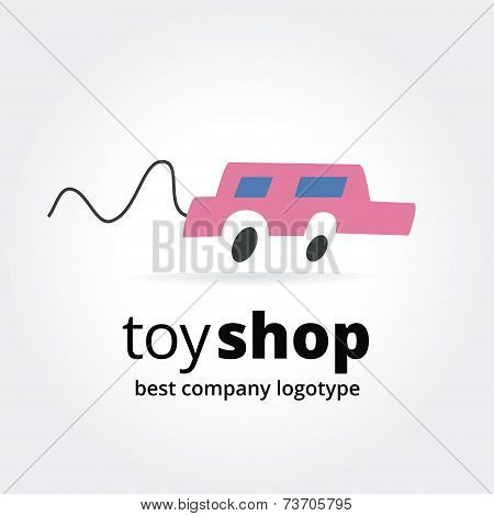 Abstract toy car logo icon concept isolated on white background for business design. Key ideas is ch