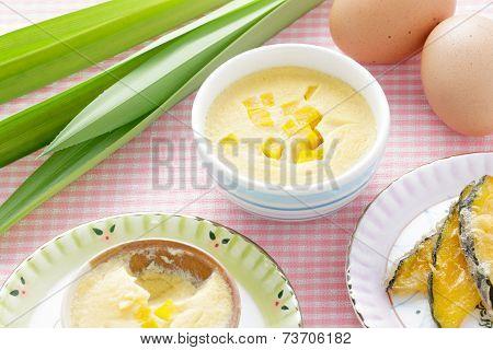 Thai Dessert,  Steamed Custard In Blue Bowl With Ingredient.
