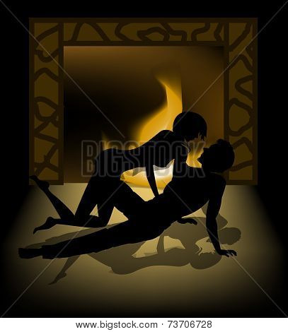 Silhouette Of Lovers On A Background Of Fire