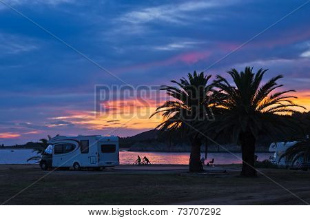 Sunset at campers favourite site for summer vacations in Chalkidiki