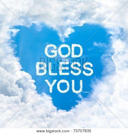 God Bless You Word On Blue Sky