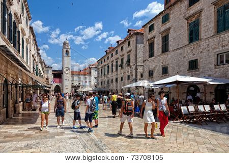 Central Street Of The Dubrovnik Old Town, Croatia.