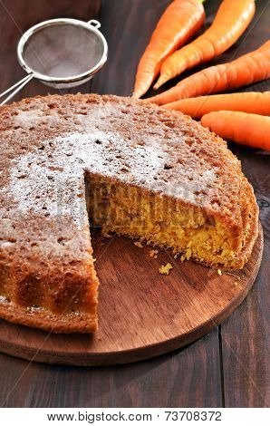 Carrot Pie And On Wooden Table