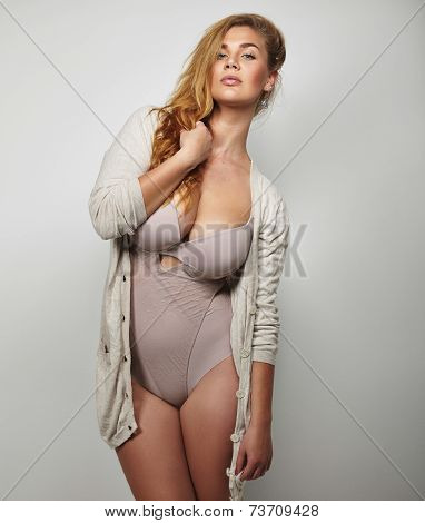 Curvy Woman In Underwear Posing Confidently