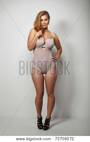 Beautiful Plus-size Woman In Sexy Lingerie