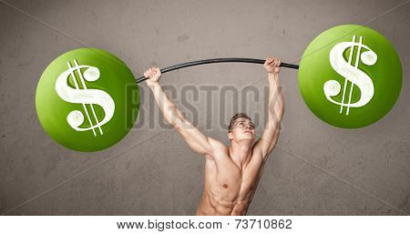 Strong muscular man lifting green dollar sign weights