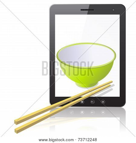 Tablet PC computer with ceramic mug with wooden sticks