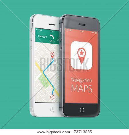 Black And White Smartphones With Map Gps Navigation App On The Screen