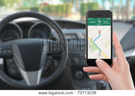 Smartphone With Map Gps Navigation App On The Screen In Female Hand