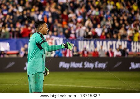 EAST HARTFORD, CT - OCTOBER 10:  Maximo Banguera of Ecuador reacts after a save against the US during an international friendly at Rentschler Field on October 10, 2014 in  Hartford, Connecticut