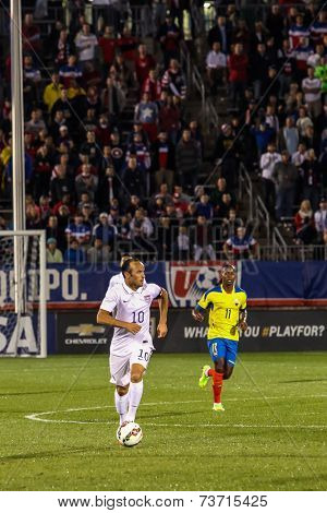 HARTFORD - OCTOBER 10: Landon Donovan in  action on US International Friendly match between US Men`s National Team vs Ecuador, on October 10, 2014, in Rentschler Field stadium, Hartford, USA.