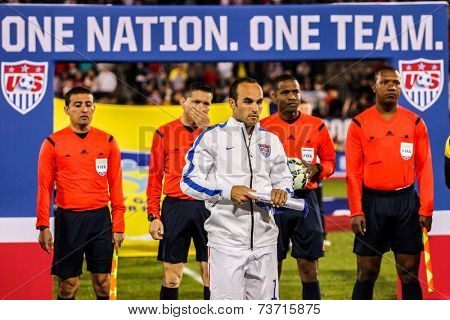 HARTFORD - OCTOBER 10: Landon Donovan with referee on stadium before soccer match between US Men`s National Team vs Ecuador, on October 10, 2014, in Rentschler Field stadium, Hartford, USA.