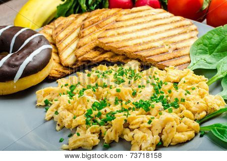 Healthy Breakfast Scrambled Eggs With Chive, Panini Toast