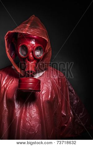 radiation nuclear concept, man with red gas mask