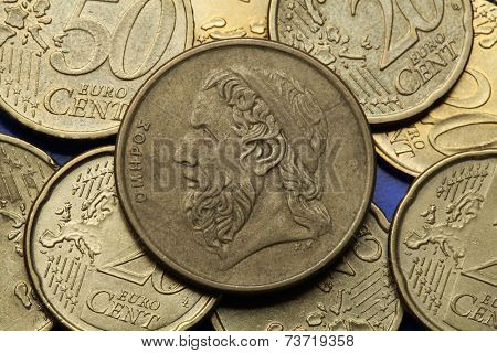 Coins of Greece. Greek epic poet Homer depicted in the old Greek 50 drachma coin.