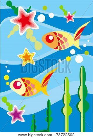 Underwater fishes - vector illustration
