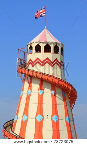 Traditional helter skelter fairground ride