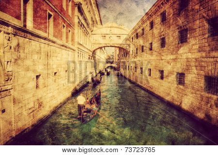 Venice, Italy. Bridge of Sighs and gondola. Vintage art, retro grunge canvas.