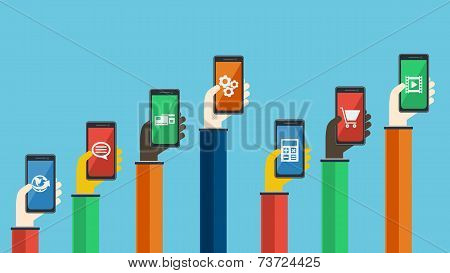 Smartphones In Hands. Vector Illustration.