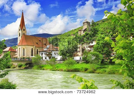 scenery of northen Italy - pictorial town Chiusa (Trentino)