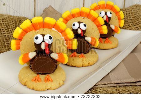 Thanksgiving turkey shaped cookies