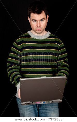 Casual Male On Laptop With Black Screen Drop