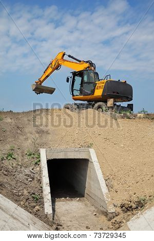 Agriculture, Irrigation Channel Construction Site In Field