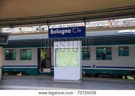 Suburban Train Stops At Bologna Station In  Italy