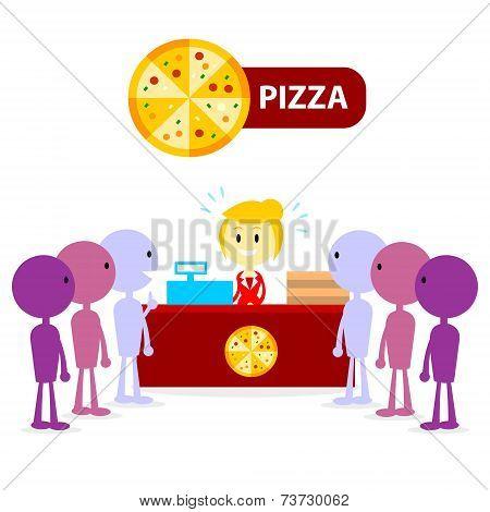 Long Queue at Pizza Counter
