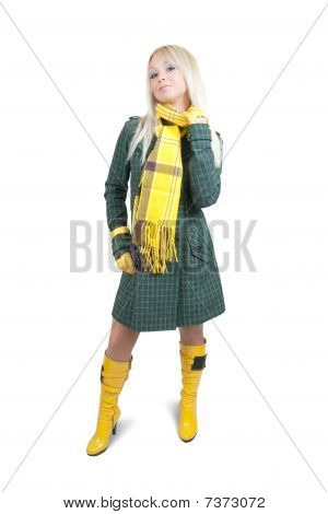 Girl In Green Coat On White Background
