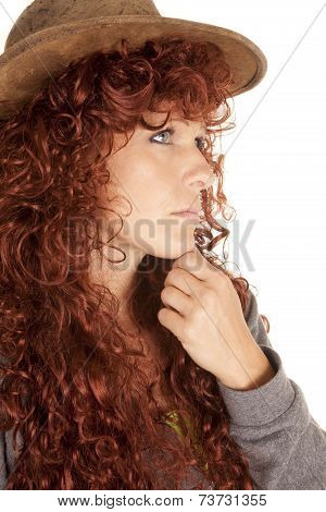 Woman Red Hair Hat Close Hand Chin